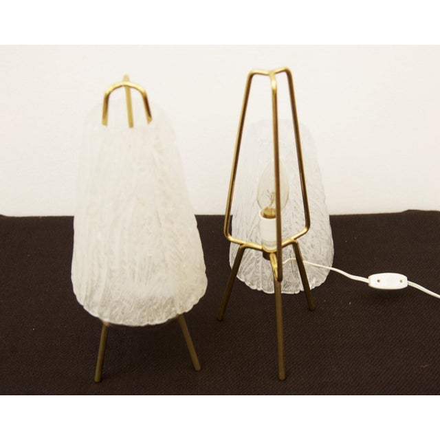 Mid-Century Modern Table Lamps in Ice Optics by Kalmar, 1950s - A Pair For Sale - Image 3 of 11