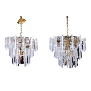Lucite Smoked Glass Mirror Chandeliers - A Pair For Sale