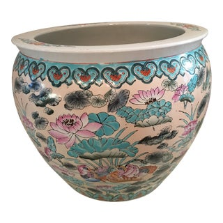 20th Century Vintage Chinese Pink Fish Bowl Planter For Sale