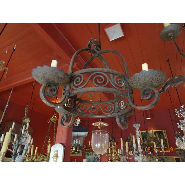 Vintage French Wrought Iron Chandelier For Sale - Image 12 of 12