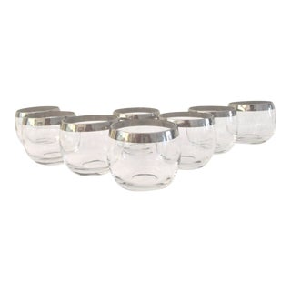 Vintage Mid-Century Silver Banded Roly Poly Glasses- Set of 8 For Sale
