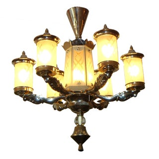Antique French Art Deco Nickel-Plated Chandelier For Sale