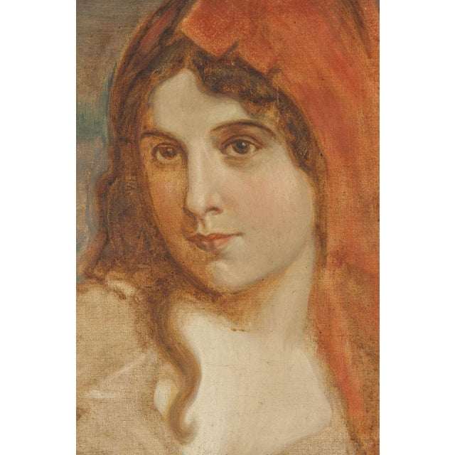 This is a beautiful oil-on-canvas portrait of a woman, circa 1920s. The piece retains its original frame, which is ready...