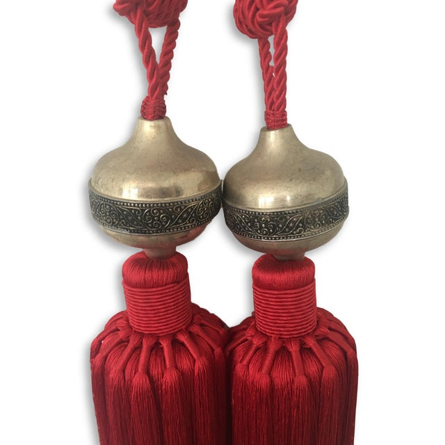 Moroccan Red Silk Tassel With Metal Embossed - A Pair For Sale - Image 4 of 5
