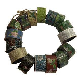 Vintage Cloisonné Napkin Rings - Set of 16 For Sale