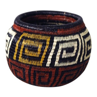 1990s Vintage Wounaan Indian Central American Woven Basket For Sale