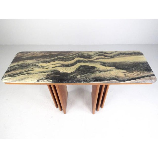 Mid-Century Modern Mid-Century Teak and Marble Console Table by Bendixen Design For Sale - Image 3 of 11