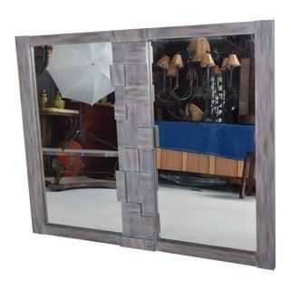 Mid-Century Modernist Brutalist Walnut Mirror by Lane For Sale