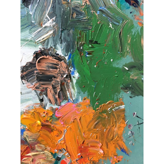 """Abstract """"Green Mountain"""" Abstract Oil Painting by Sean Kratzert For Sale - Image 3 of 3"""
