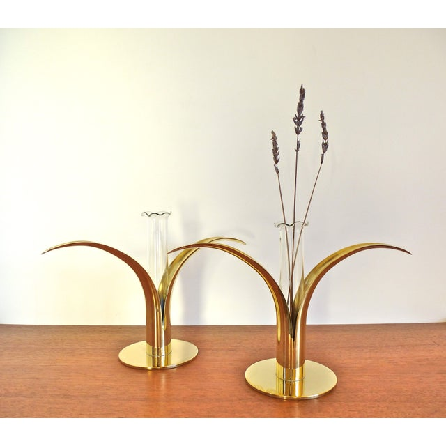 Ystad Metall Brass Lily Candle Holders/Vases - Image 4 of 8