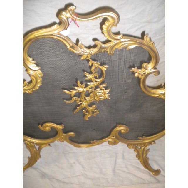 Exquisite fireplace screen, circa early 20th century. Bronze and glass. Ornate. Exquisitely crafted.