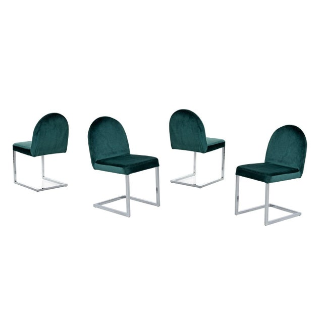 Metal 1970s Forest Green Velvet Milo Baughman Style Cantilever Chrome Dining Chairs For Sale - Image 7 of 7