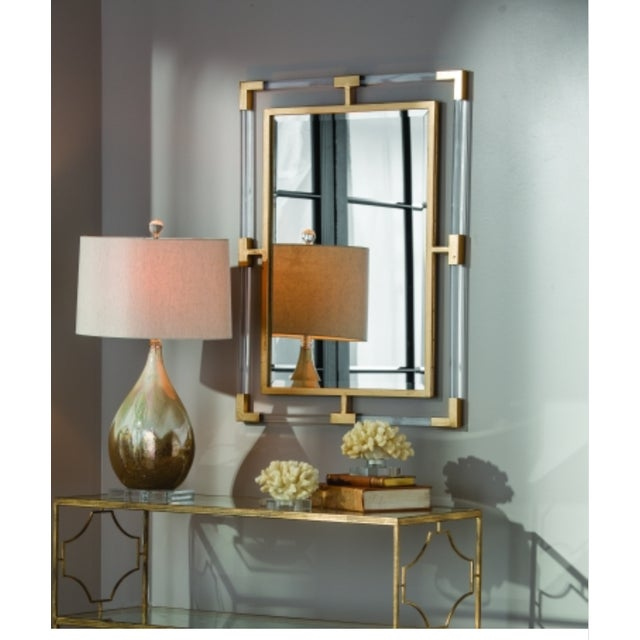 Large Lucite and Gold Metal Beveled Mirror - Image 2 of 9