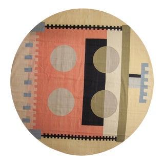 "Vintage Contemporary Kilim Round Carpet - 9'10"" X 10'2"" For Sale"
