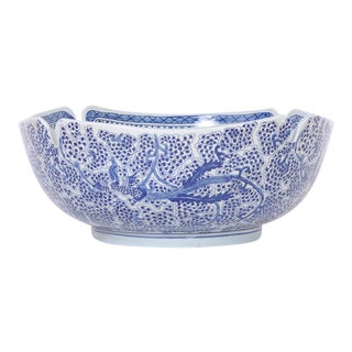 Blue and White Porcelain Fruit Bowl For Sale