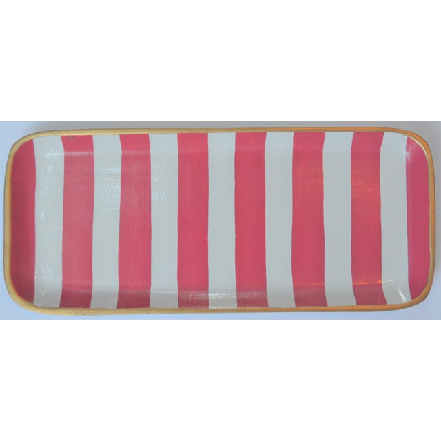 Dana Gibson Dana Gibson Melon and White Striped Trinket Tray For Sale - Image 4 of 13