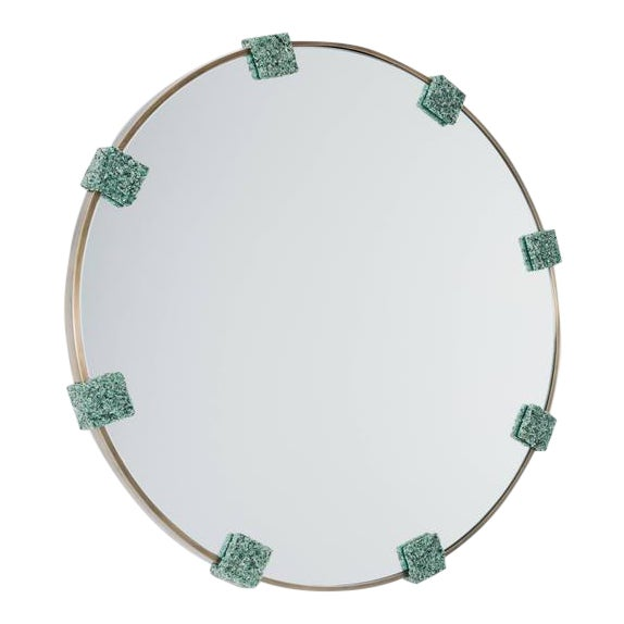 Mirror of Smoked Brass and Crushed Green Avertine From Brazil, by Samuel Amoia For Sale