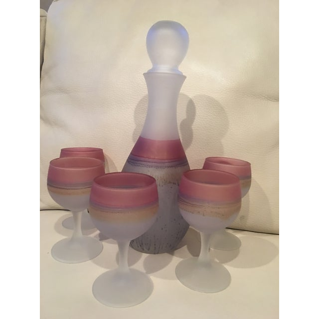 1960s Mid-Century Modern Israeli Art Glass Hebron Decanter Set - 6 Pieces For Sale - Image 10 of 10