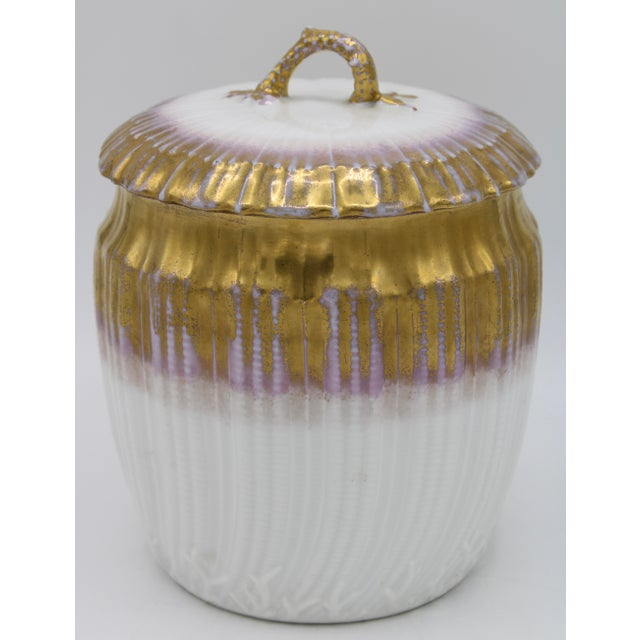 Antiques French Limoges Lavender Gold and White Biscuit Jar For Sale - Image 11 of 11