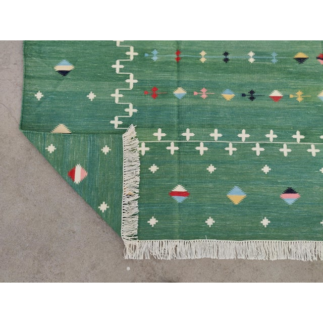 Handmade Cotton Vegetable Dyed Green Shooting Star Rug For Sale - Image 10 of 11