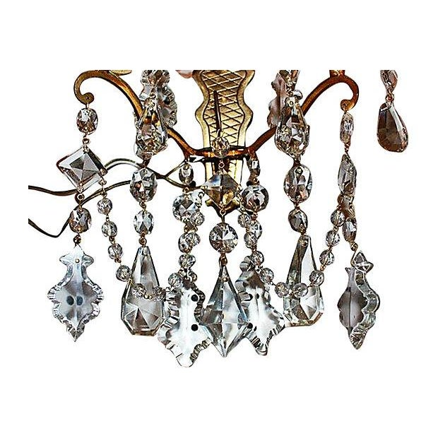 Antique Crystal French Bronze Sconces - A Pair For Sale - Image 5 of 6
