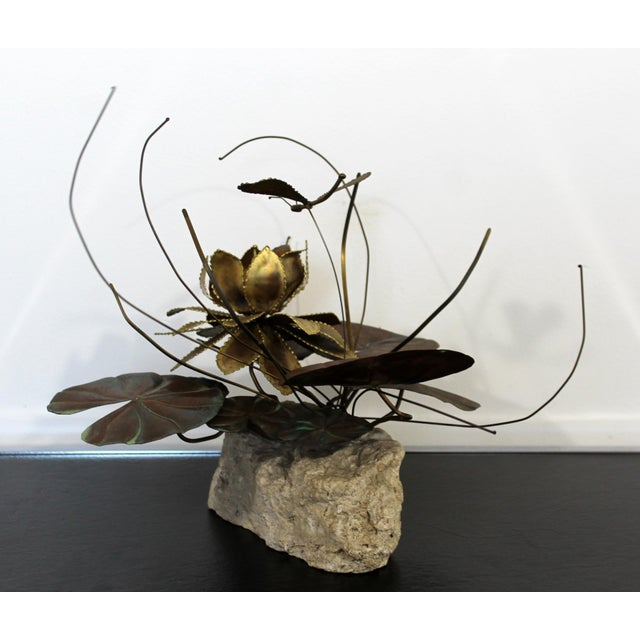 Mid-Century Modern Mid Century Modern Brutalist Brass on Stone Table Sculpture Water Lily Jere Era For Sale - Image 3 of 8