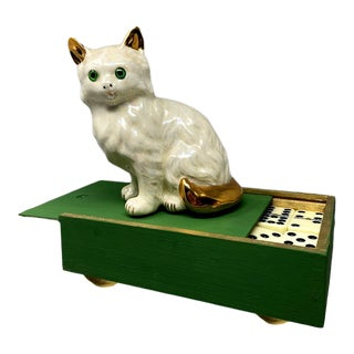 Vintage Ceramic Cat Handmade Footed Wood Box 55 Dominoes Double Nine Game For Sale