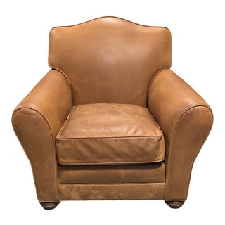 Nation Upholstering Company Western Leather Arm Chair For Sale