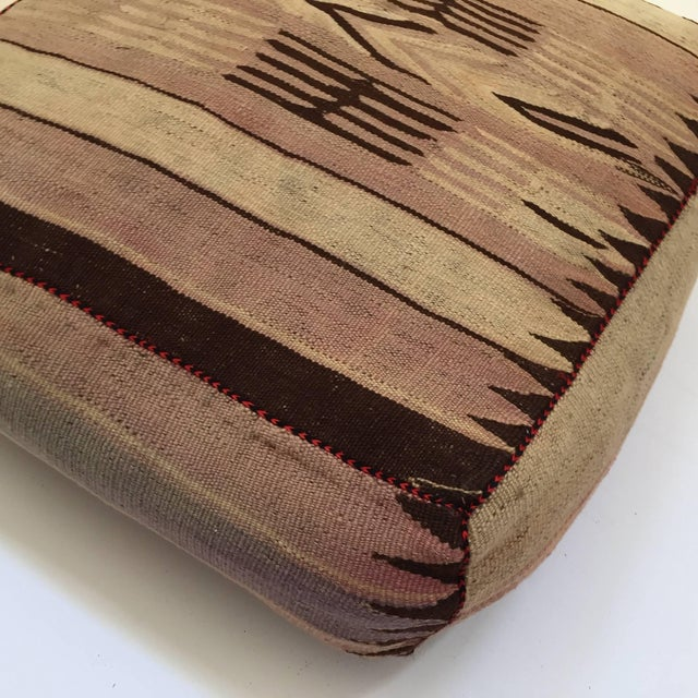 Textile Moroccan Tribal Floor Pillow Seat Cushion Made From a Vintage Berber Rug For Sale - Image 7 of 13