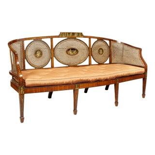 Late 19th Century Edwardian Satinwood and Painted Settee For Sale