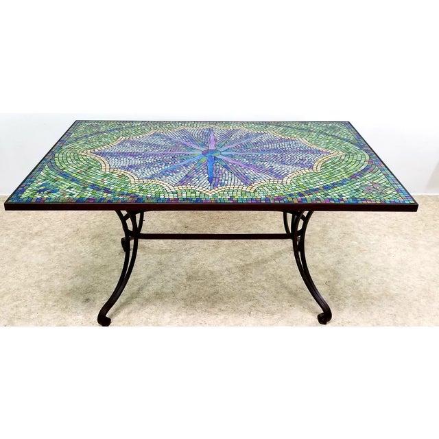 Boho Chic Mosaic Fleur-De-Lis Sunburst Tile Top Table For Sale - Image 13 of 13