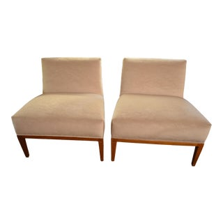 Vintage Pair of John Widdicomb Style Mid Century Modern Rattan Backed Newly Upholstered Mohair Slipper Chairs For Sale