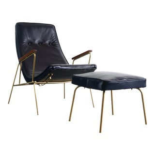 Leather Lounge Chair & Ottoman in Blue with Gold Powder Coated Iron Base For Sale