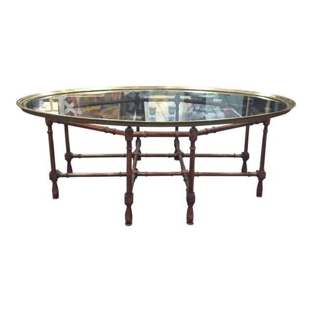 Hollywood Regency Glass Brass Faux Bamboo Coffee Table