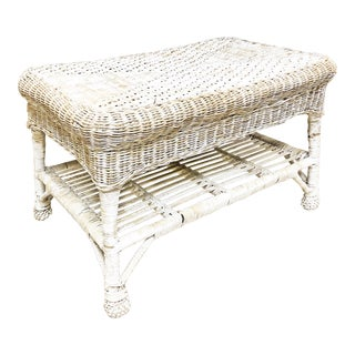 Vintage White Wicker Coffee Table