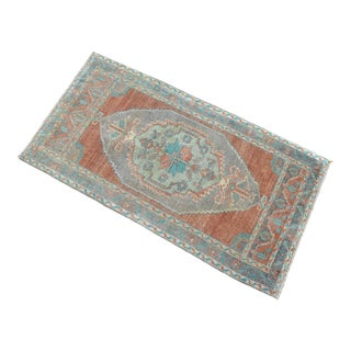 Hand Knotted Door Mat, Entryway Rug, Bath Mat, Kitchen Decor, Small Rug, Turkish Rug - 1′9″ × 3′4″ For Sale