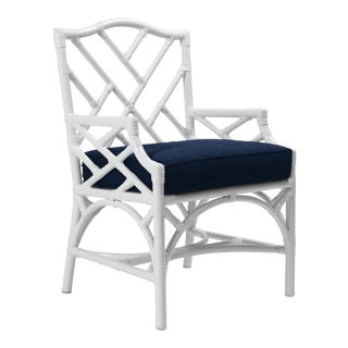 Chippendale Outdoor Armchair - White For Sale