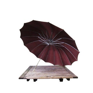 1950s Vintage Maroon Umbrella with Lucite Handle For Sale