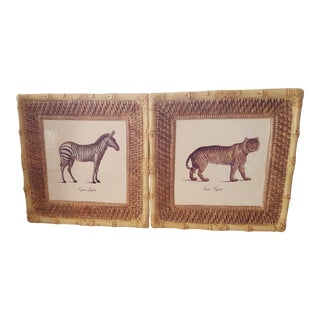Vintage Raymond Waites Certified International Ceramic Tiger and Zebra Wall Hangings - Set of 2 For Sale