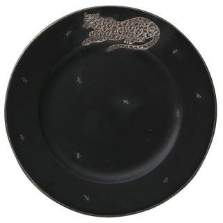 Emilia Castillo Jaguar Dragonflies Motif Sterling Silver & Basalt Black Charger For Sale