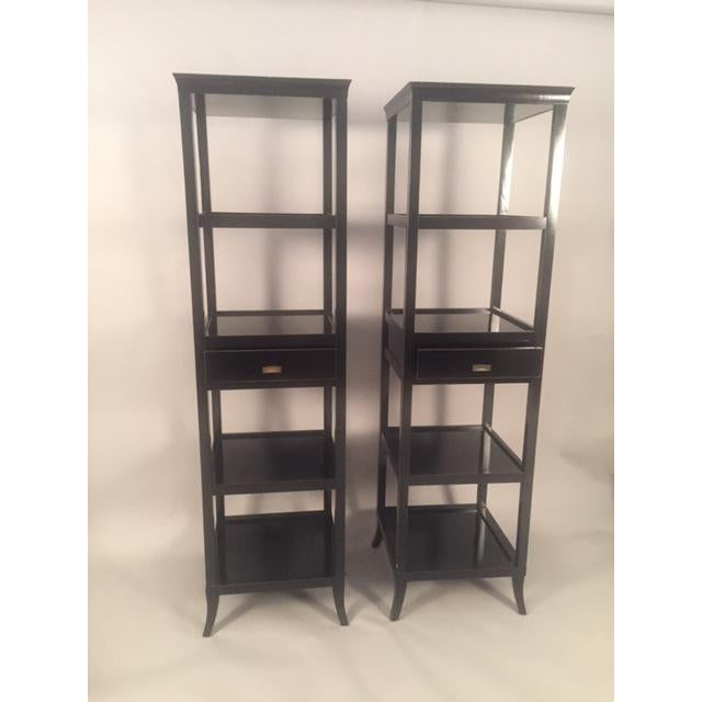 Contemporary Wood Black Lacquered Etagere Shelves - A Pair For Sale In New York - Image 6 of 9