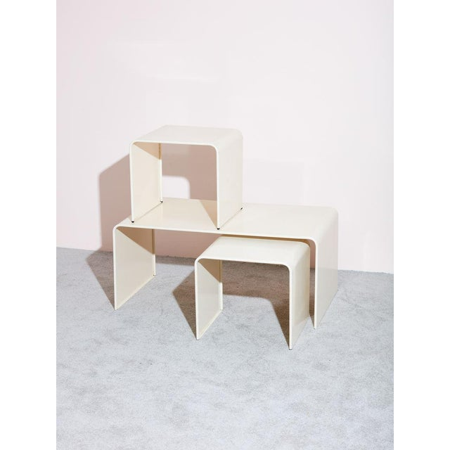 Contemporary Beige Waterfall Coffee Table and Side Table Set - 3 Pc. Set For Sale - Image 3 of 4