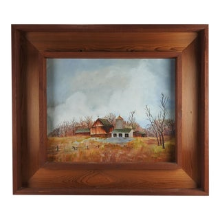 Rustic Farmhouse Painting in Custom Frame For Sale