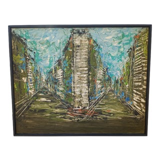 1966 Modernist Abstract Cityscape Oil Painting by E. Cien, Framed For Sale
