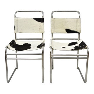 Mid Century Modern Black & White Leather Cowhide Hair on Hide Chairs- A Pair For Sale