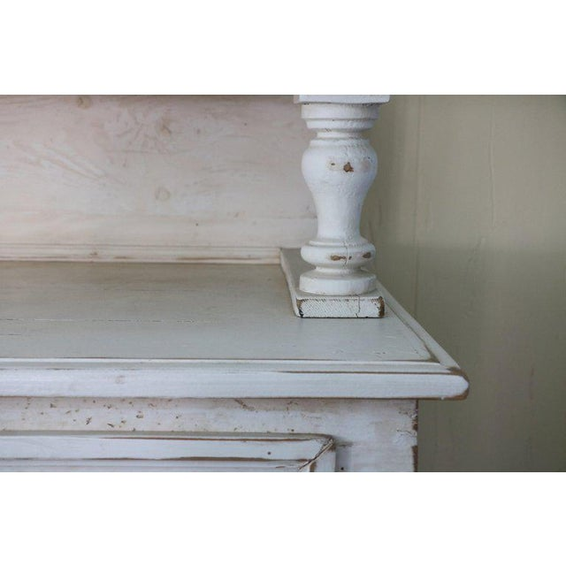 1920s Hollywood Regency breakfront. A soft and subtle distressed shabby chic pale rose yellow - antique glass doors...