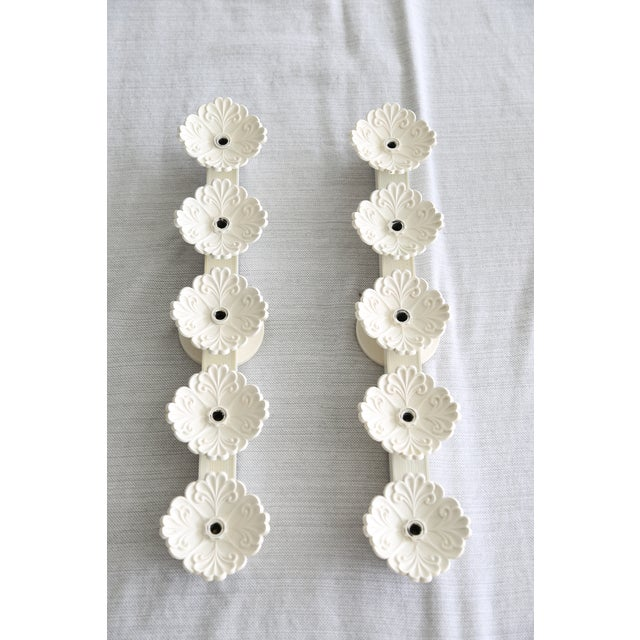 Antique White Vintage White Floral Wall Lights - a Pair For Sale - Image 8 of 8