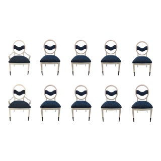 Caracole Modern Prototype Blue and White Wave Dining Chairs Set of Ten For Sale