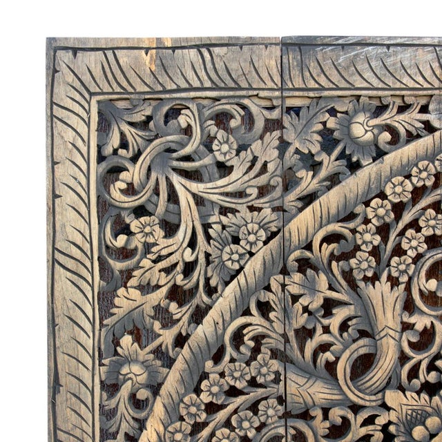 This breath-taking panel is truly an art piece with its hand-carved design and meticulous wood work. This piece features a...
