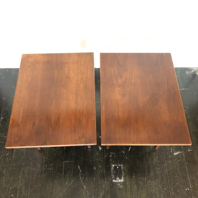 Wood Jens Risom Walnut Side Tables - a Pair For Sale - Image 7 of 13
